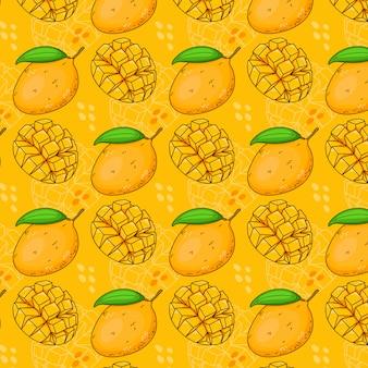Seamless pattern of mangoes