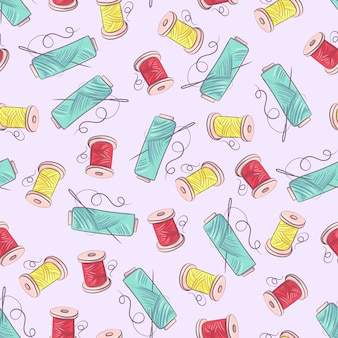 Seamless pattern of mannequin sewing accessories. hand drawing