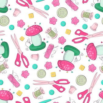 Seamless pattern of mannequin sewing accessories.