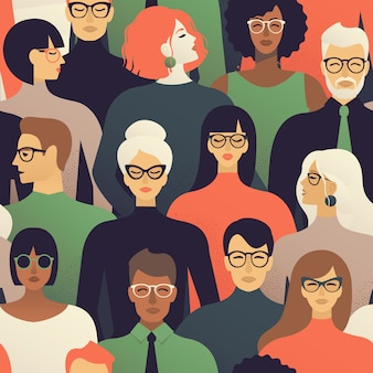 Seamless pattern of many different people profile heads vector background.