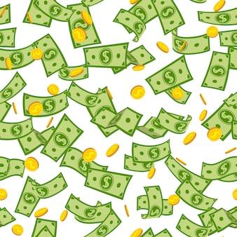 シームレスパターン多くのお金の雨、漫画。緑の紙のメモと空を飛んでいる金貨