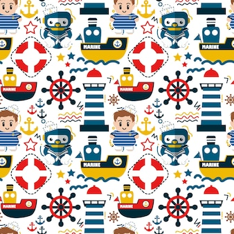 Seamless pattern marine and nautical