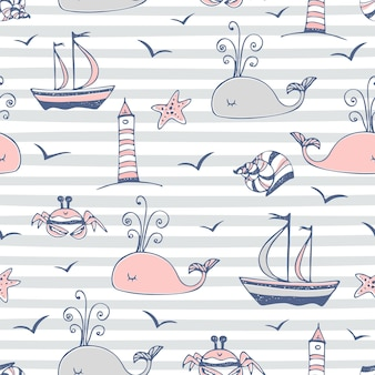 Seamless pattern on a marine theme striped background gray. vector.