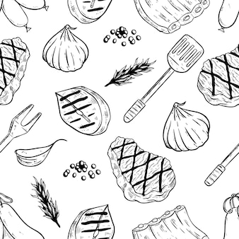 Seamless pattern of meat for steak with sketchy style