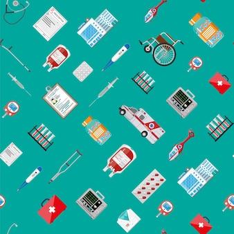 Seamless pattern. medicine pills capsules bottles healthcare devices. ambulance car helicopter, hospital building. healthcare, medical diagnostics. urgency emergency. vector illustration flat style