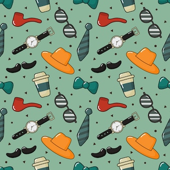 Seamless pattern men items. happy fathers day