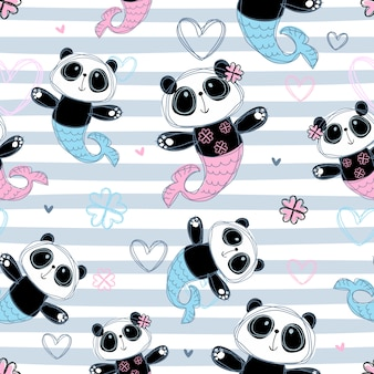 Seamless pattern. mermaid panda on striped design.