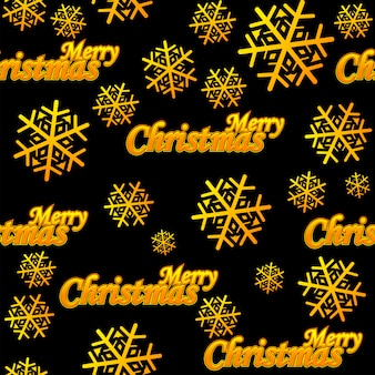 Seamless pattern merry christmas. vector golden logo and snow on black background