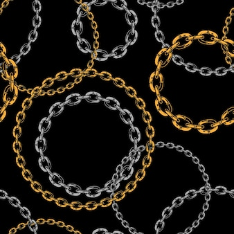 Seamless pattern of metal chains brushes in style on black background