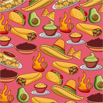 シームレスなパターンメキシコの食べ物の帽子伝統