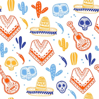 Seamless pattern for mexico traditional celebration - dia de los muertos - with skull, poncho, cacti, guitar, sombrero isolated on white background. good for packaging design, print, decor, web
