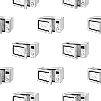 Seamless pattern. microwave oven on white background. in sketch style