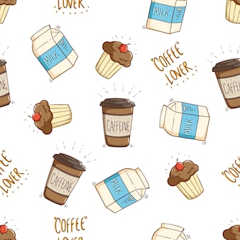 Seamless pattern of milk coffee and cupcake