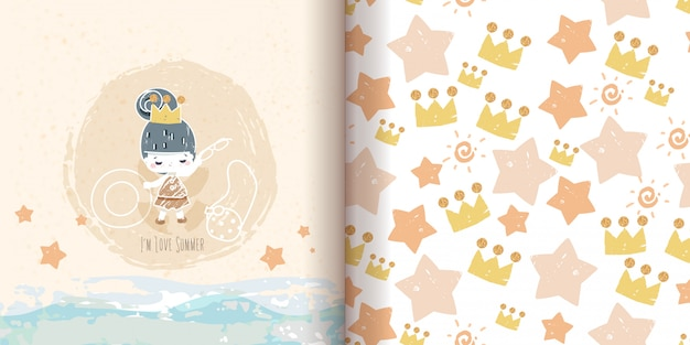 Seamless pattern minimalist drawing doodle, princess painting with glittering gold.