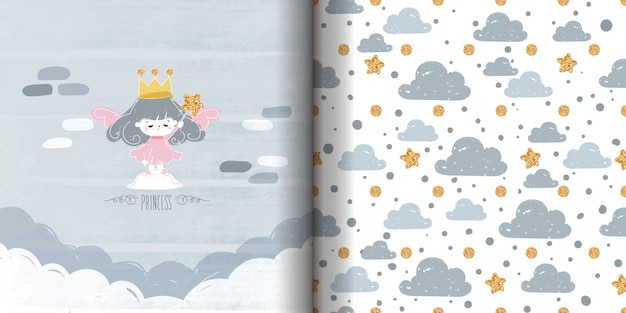 Seamless pattern minimalist drawing doodle with ink princess painting with glittering star magic wand.