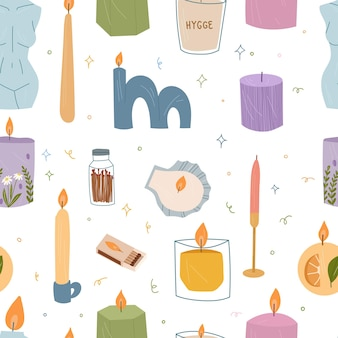 Seamless pattern of modern burning candles with candlesticks and in jars or cups