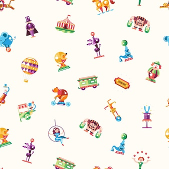 Seamless pattern of modern flat design circus and carnival icons and infographics elements