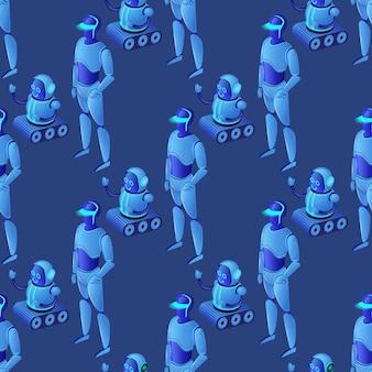 Seamless pattern of modern glowing ai robots