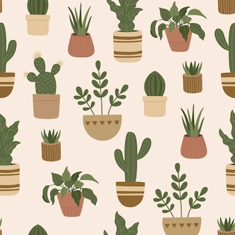 Seamless pattern of modern house plants, trendy hand drawn exotic flowers in pots, colorful doodle flat style.
