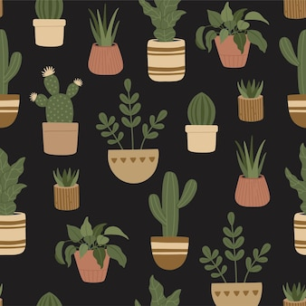 Seamless pattern of modern house plants