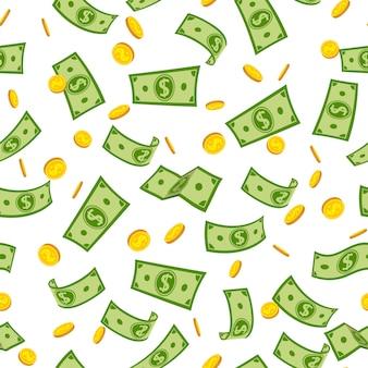 Бесшовный фон деньги дождь мультфильм. зеленые бумажные купюры и золотая монета летать в воздухе