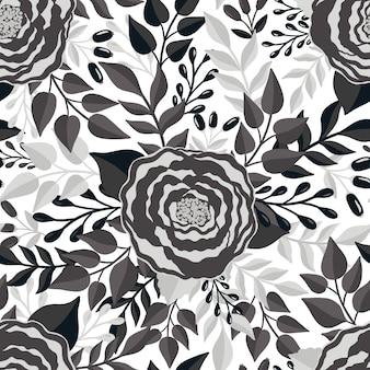 Seamless pattern monochrome flowerelegant floral designbotanical print fashion print