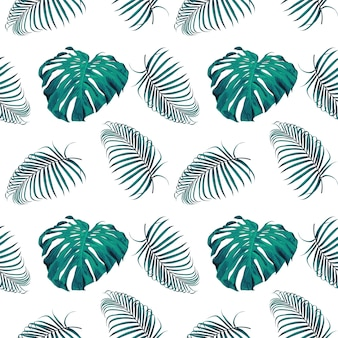 Seamless pattern monstera and palm leaves background.