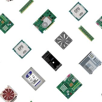 Бесшовные модели. материнская плата, жесткий диск, процессор, вентилятор, графическая карта, память, отвертка и корпус. комплект аппаратного обеспечения персонального компьютера. значки компонентов пк. векторная иллюстрация в плоском стиле