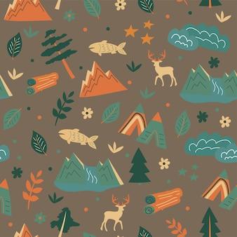 シームレスなパターン。山、森のテント、動物。キッズスカウトと旅行者のためのテーマ。ベクトルのパターン