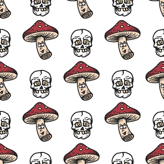 Seamless pattern of mushroom and skull with dizzy expression on white background