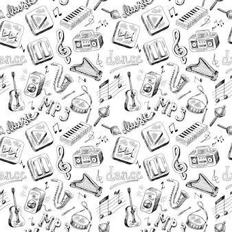 Seamless pattern of music instruments doodle hand drawing
