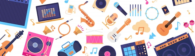 Seamless pattern music instruments and equipment electronics icons
