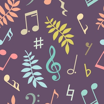 Seamless pattern of music notes and leaves