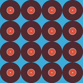 Бесшовный фон музыкальный виниловый диск над синим. предпосылка текстуры вектора плоского стиля безшовная. музыкальный шаблон. ретро винтаж виниловая пластинка