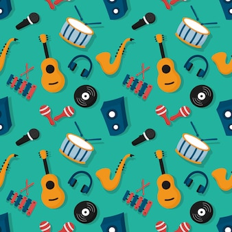 Seamless pattern musical instruments isolated on blue background.