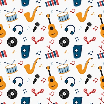 Seamless pattern musical instruments isolated on white background.