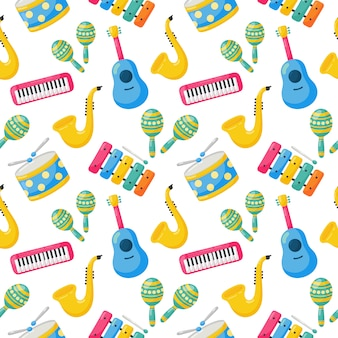 Seamless pattern musical instruments isolated