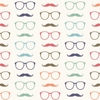 Seamless pattern of mustache and glasses