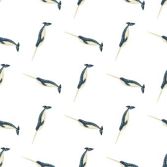 Бесшовный узор нарвал на белом фоне. шаблон мультипликационного персонажа океана для ткани. повторяющаяся диагональная текстура с морскими китообразными. дизайн для любых целей. векторная иллюстрация.