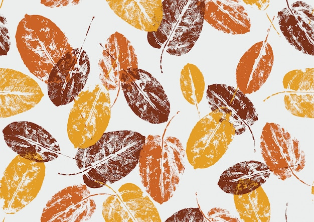 Seamless pattern natural autumn leaves stamp on white background