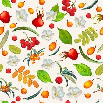 원활한 패턴 천연 유기농 딸기입니다.