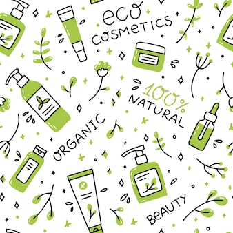 Seamless pattern of natural organic cosmetics in doodle style