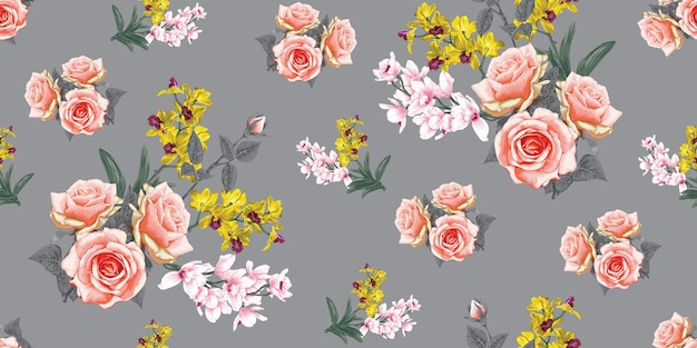 Seamless pattern nature background with hand draw floral