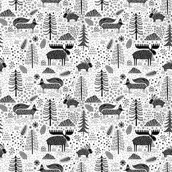 Seamless pattern nature forest wildlife canada.