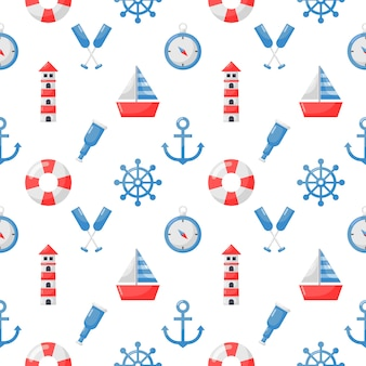 Seamless pattern nautical icons cartoon style isolate on white