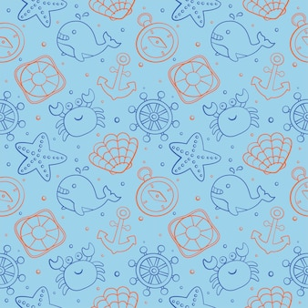 Seamless pattern nautical icons cartoon style. isolated on blue background.