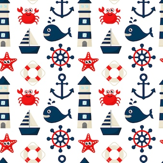 Seamless pattern nautical icons cartoon style