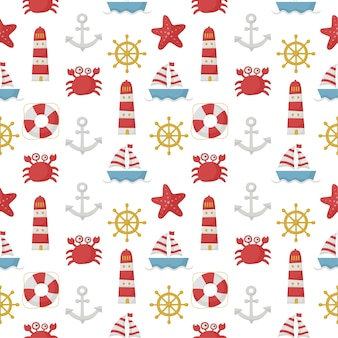 Seamless pattern nautical style. isolated on white background.