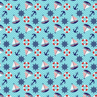 Seamless pattern nautical theme