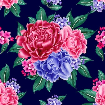 Seamless pattern navy blue background peony.
